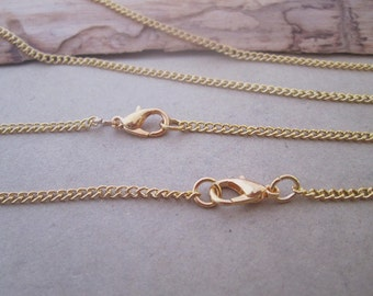 20pcs 30inch  gold  color Link  chain  With Clasp 2mm