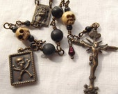Memento Mori Rosary Skull Rosary with Blood Drop Bead Momento