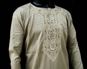 Gift for him on spring time Man kurta linen shirt tunic tops indian costume in handmade long sleeved Beige viking tunic bohemian chic top