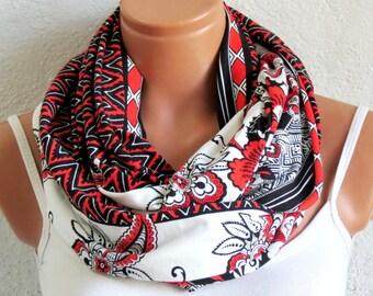 Infinity Scarf Orange White tribal print Circle Loop Scarf Women's Fashion Accessories, Fabric infinity scarf, Summer Wear, Aztec