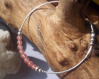 Pink Cherry Quartz and sterling silver bangle