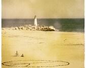 Beach Photography, Santa Cruz, California, Ocean Print, Summer Photography, Teal, White, Beach Cottage, Tangerine, Orange, Turquoise