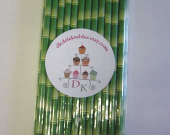 Bamboo Striped Paper Drinking Straws ~ Tiki Punch ~ Set of 25