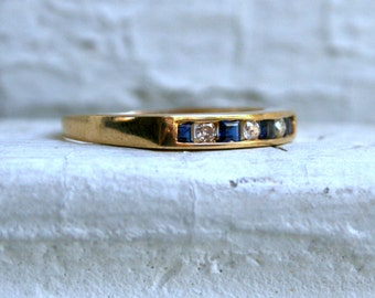 Channel 14K Yellow Gold Sapphire and Diamond Wedding Band - 0.29ct.