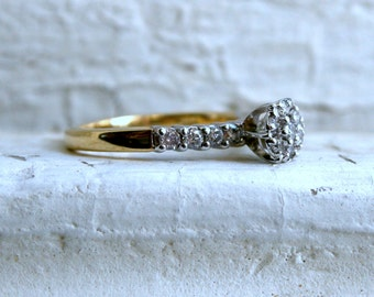 Vintage 14K Yellow Gold Diamond Cluster Engagement Ring.
