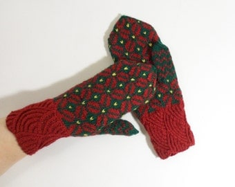 Hand Knitted Mittens - Red and Green, Size Medium