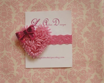 Light pink Chiffon heart on pink lace headband / Newborn headband/ Holiday headband