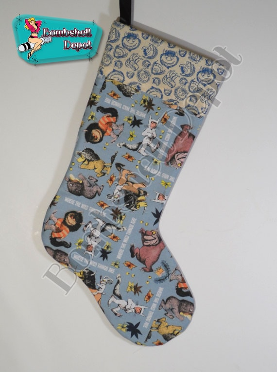 The wild things are pattern christmas stocking lined w printed cuff