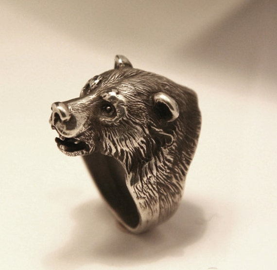 Bikers Ring Bear Head Ring Good Gift Sterling By