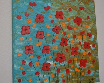 """Original abstract painting Acrylic Painting Modern Art -red flowers- palette knife by Carola, 20"""" x 20"""""""