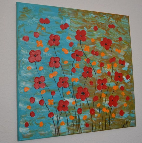 "Original abstract painting Acrylic Painting Modern Art -red flowers- palette knife by Carola, 20"" x 20"""