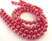 ON SALE - 50 Luster Siam Ruby Smooth Round 6mm Czech Glass Beads