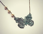 patina butterfly necklace, butterfly jewelry, butterfly accessory, vintage butterfly, bridal jewelry