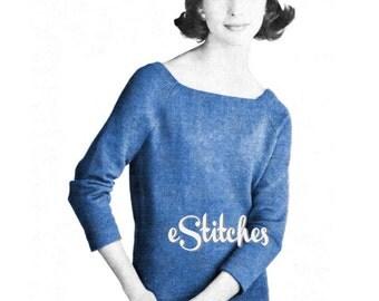 1950s Simple Tunic Sweater -  Machine Knit Pattern PDF 0159