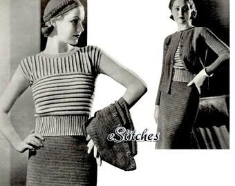 1930s Sports Suit, Striped Blouse, Jaunty Hat, Coat and Skirt - 4 Crochet patterns PDF 0674