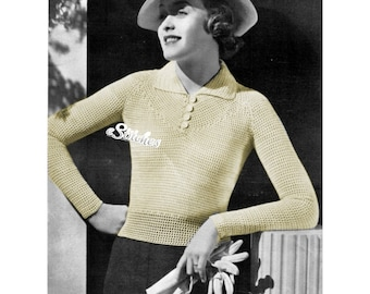 1930s Mesh Blouse or Top, Long Sleeves and Collar in Filet Crochet 1940s- Crochet pattern PDF 3020