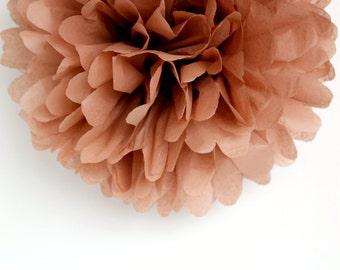 Mocha Brown Tissue Paper Pom Poms- Wedding, Birthday, Bridal Shower, Baby Shower, Party Decorations, Garden Party
