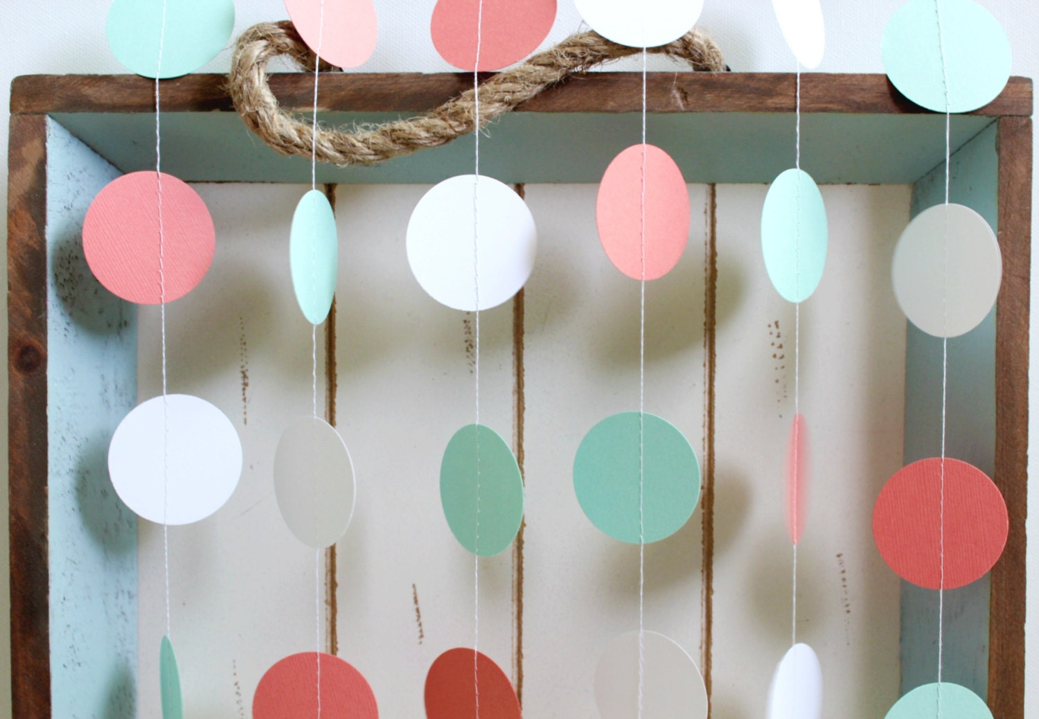 Mint Green Dark Coral White 12 Ft Circle Paper Garland