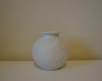 Vintage West Germany Vase, White Vase, White Rose Vase, Embossed Roses, Kaiser W Germany, Porcelain Matt Vase