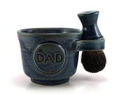 Blue Shaving Set for Dads: Black Badger Shave Brush, Mug with DAD Plaque, Soap, Handmade Pottery Kit for Men - Made to Order Allow 8 Weeks