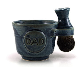 Blue Shaving Set for Dads: Black Badger Shave Brush, Mug with DAD Plaque, Soap, Handmade Shave Mug Kit Husband Fathers Gift - Ready to Ship