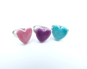Pink purple turquoise Heart ring ceramic adjustable ring