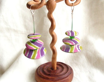 Earrings made of wood and glass beads steel wire silver green pink purple