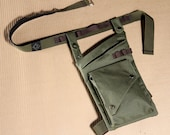 Olive Water Resistant Leg Bag with Leg Strap and Custom fit Belt with Military Buckle