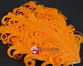 CLEARANCE 1 Curly Nagorie Feather Pads - Goose Feather Pad - Orange DIY Baby Feather Headband - Hat Supplies Wholesale - Curly Feathers