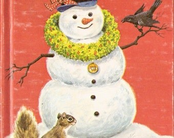 The Christmas Snowman Vintage Rand McNally Junior Elf Book Illustrated by Sharon Kane