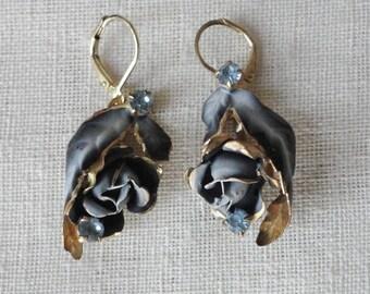 Blue Flower Rose Antique Pierced Earings