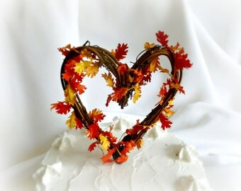 Fall Cake Topper, Rustic Autumn Wedding & Shower Decor