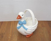 Vintage White Geese or Duck Planter or Flower Dish Made in Japan