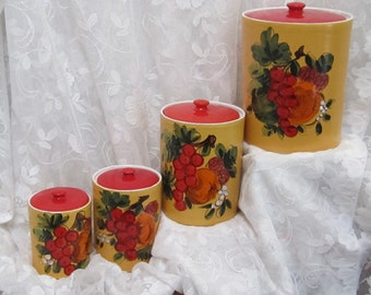 Italian Handmade Handpainted Four Piece Baked Ceramic Canister Set C1970s
