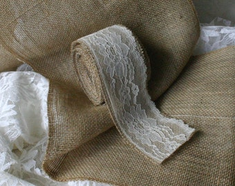 Burlap and lace ribbon, burlap runners