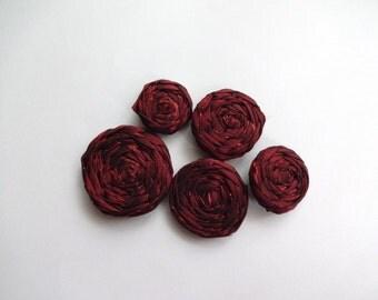 Red Fabric Rosettes Embellishment