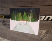 Hockey Rink Christmas Holiday Card: Blank Inside, Recycled Paper