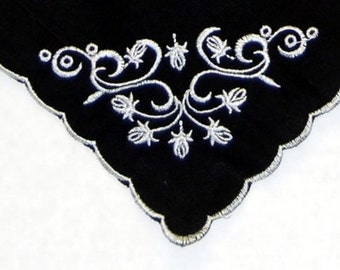 STUNNING Black Hankie with white embroidered floral design   ---  Wedding   --  Mourning  --  Grief