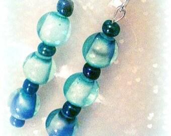 Aqua, Blue, Purple Marble Earrings