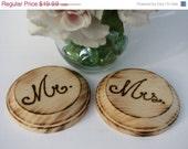Mr. and Mrs Wedding Wine Coasters Rustic Engraved in Wood .Woodland,Vintage, Country Weddings