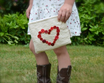 Reusable Snack Bag, Eco Snack Bags, Button Heart Snack Bag Nylon or Cotton Lined, MADE TO ORDER, Valentines Heart Bag