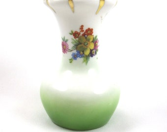 Czechoslovakian Porcelain Vase With Flowers