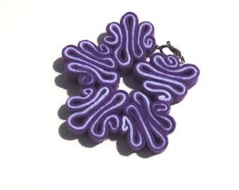 Felt Bracelet, Boho, Eco Jewelry, Recycled, Free Form, Purple and White Bracelet, Felted Jewelry, Ecofriendly Bracelets