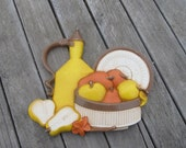1981 Syroco Fruit Bowl and Pitcher Kitchen Wall Plaque