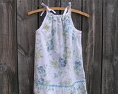 SALE...Size 4T/5, Upcycled Girls Pillowcase Dress Cool Summer Floral Print