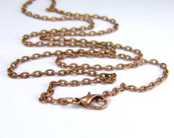 Antique Copper Oval Link Chain custom length Antique Copper Oval Link Necklace