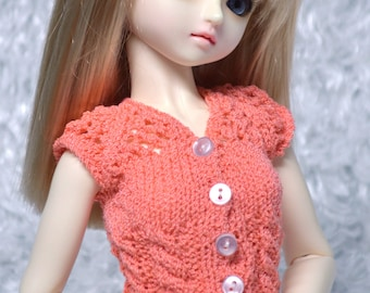 Hand-knit Cable Huggy Vest in peach Merino wool for MSD sized BJDs and Ellowyne Wilde