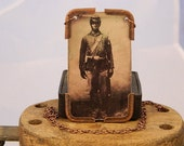 Civil War necklace, African American, Union Soldier, mixed media jewelry
