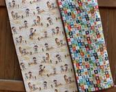Western Unisex Baby Quilt Whole Cloth Sasparilla Cowboy Cowgirl Reversible Handmade Alphabet Blanket