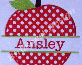 Split Apple Applique Embroidery Design